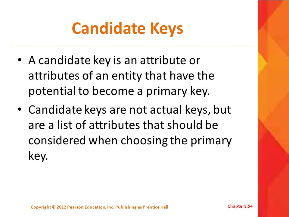 Candidate Keys A candidate key is an attribute or attributes of an entity that have the potential to become a primary key. Candidate keys are not actu