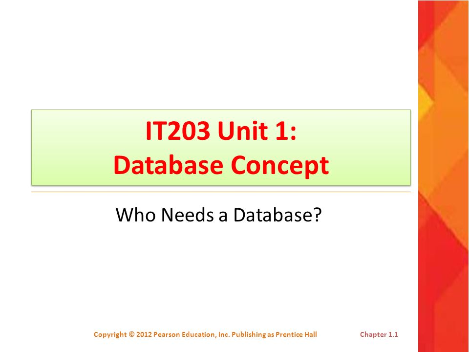 IT203 Unit 1: Database Concept Who Needs a Database? Copyright © 2012 Pearson Education, Inc. Publishing as Prentice HallChapter 1.1