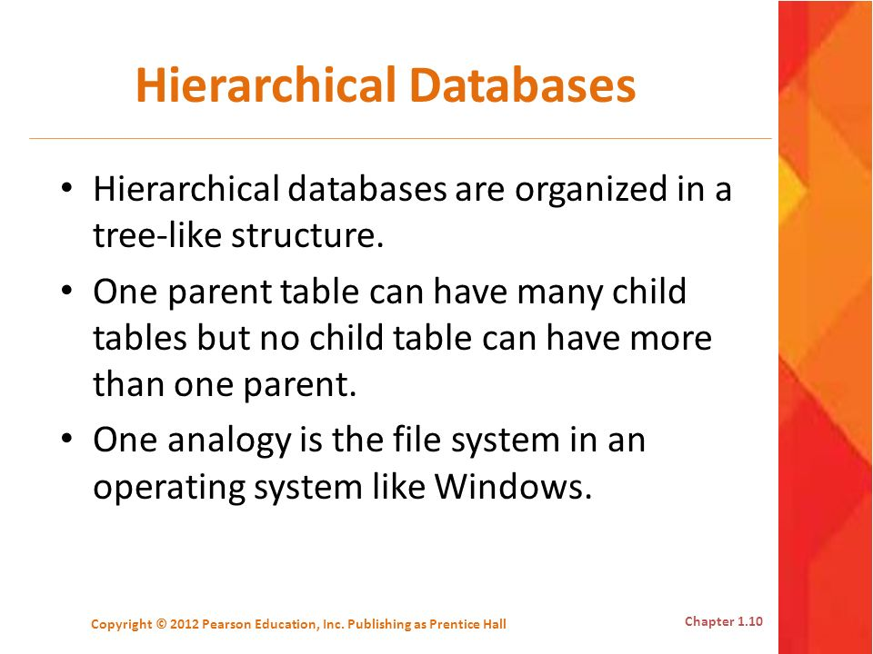 Hierarchical Databases Hierarchical databases are organized in a tree-like structure. One parent table can have many child tables but no child table c