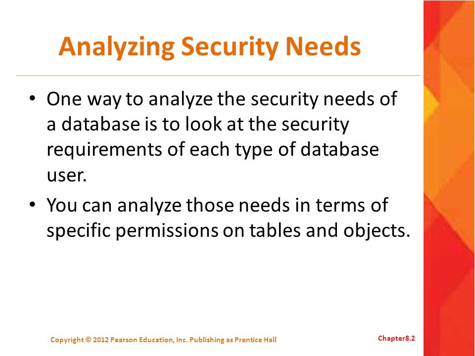 Analyzing Security Needs One way to analyze the security needs of a database is to look at the security requirements of each type of database user.