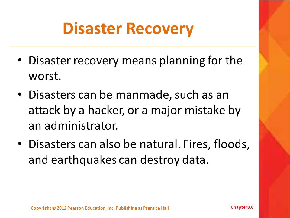 Disaster Recovery Plan A disaster recovery plan is a plan for how to recover data and its availability after various possible disasters.