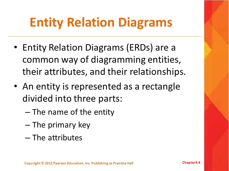 Relationships There are three types of relationships between entities: – One-to-one – One-to-many – Many-to-many Copyright © 2012 Pearson Education, Inc.