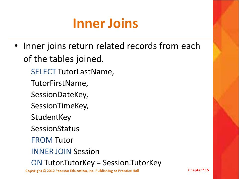 Inner Joins Inner joins return related records from each of the tables joined. SELECT TutorLastName, TutorFirstName, SessionDateKey, SessionTimeKey, S