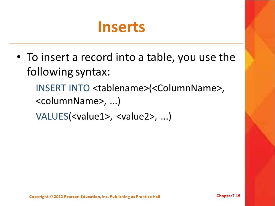 Inserts To insert a record into a table, you use the following syntax: INSERT INTO (,,...) VALUES(,,...) Copyright © 2012 Pearson Education, Inc. Publ
