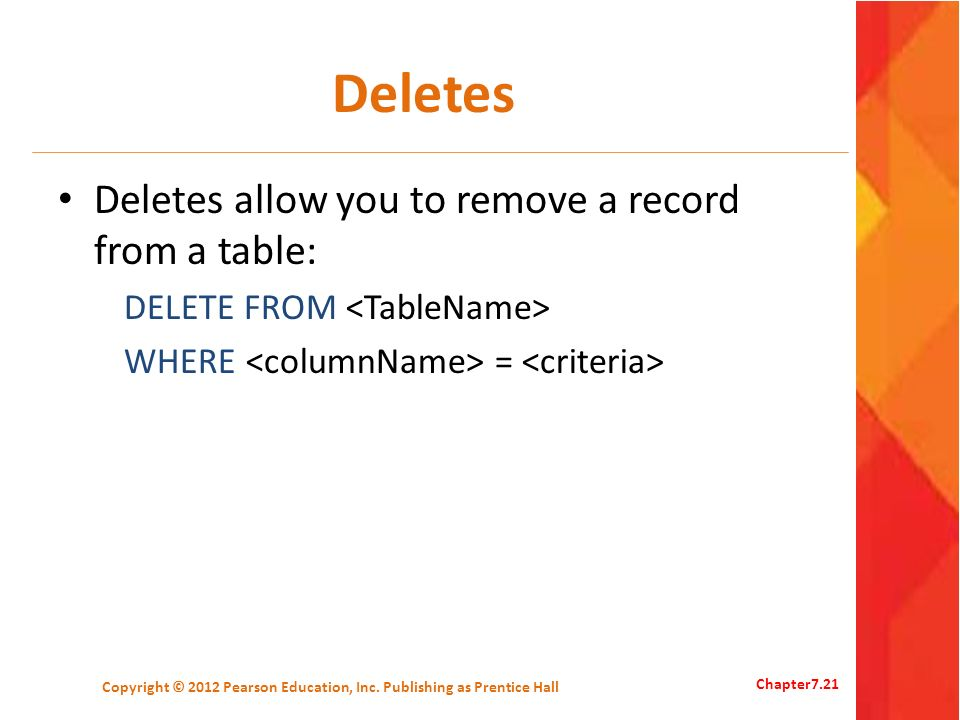 Deletes Deletes allow you to remove a record from a table: DELETE FROM WHERE = Copyright © 2012 Pearson Education, Inc. Publishing as Prentice Hall Ch