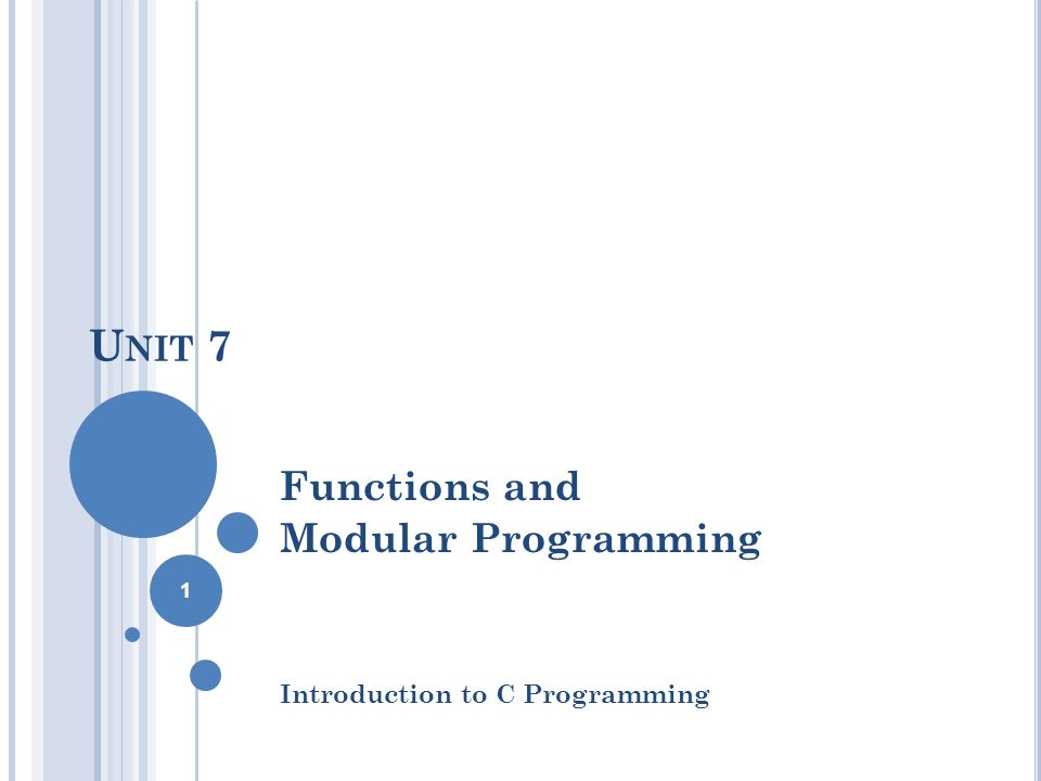 U NIT 7 Functions and Modular Programming Introduction to C Programming 1