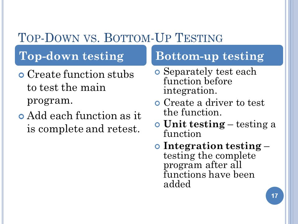 T OP -D OWN VS. B OTTOM -U P T ESTING 17 Create function stubs to test the main program.