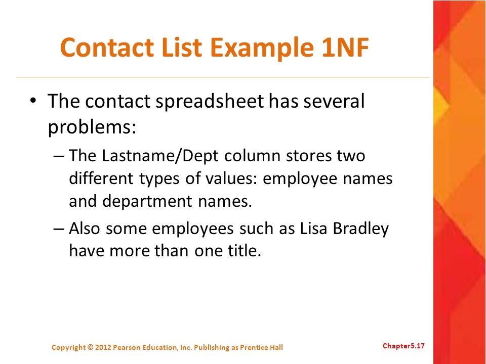 Contact List Example 1NF The contact spreadsheet has several problems: – The Lastname/Dept column stores two different types of values: employee names