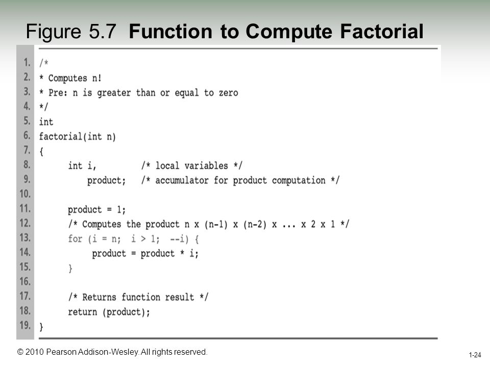 1-24 © 2010 Pearson Addison-Wesley. All rights reserved. 1-24 Figure 5.7 Function to Compute Factorial