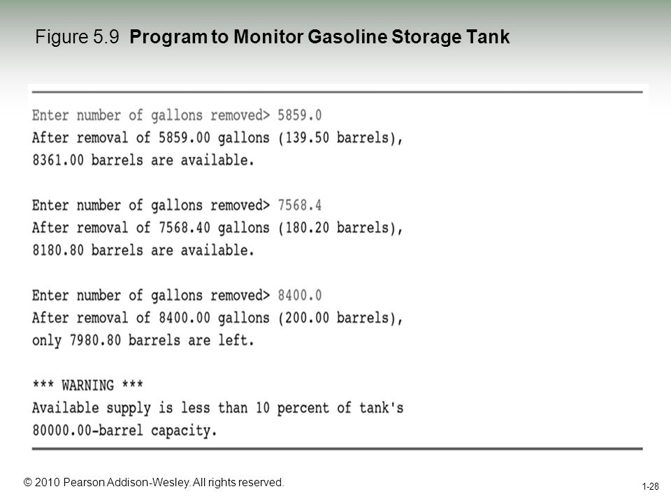1-28 © 2010 Pearson Addison-Wesley. All rights reserved. 1-28 Figure 5.9 Program to Monitor Gasoline Storage Tank
