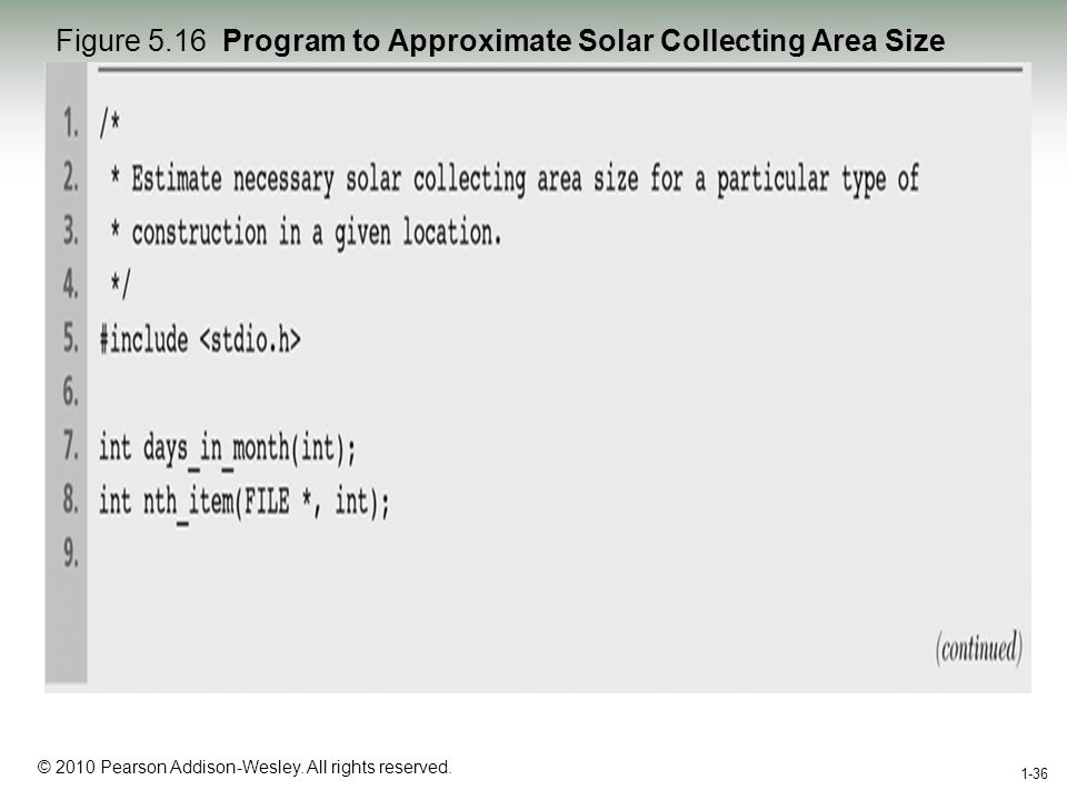 1-36 © 2010 Pearson Addison-Wesley. All rights reserved. 1-36 Figure 5.16 Program to Approximate Solar Collecting Area Size