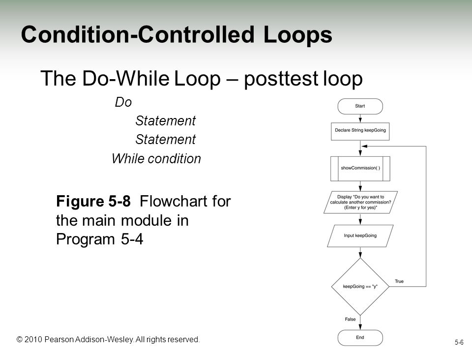 1-6 © 2010 Pearson Addison-Wesley. All rights reserved. 5-6 Condition-Controlled Loops The Do-While Loop – posttest loop Do Statement While condition