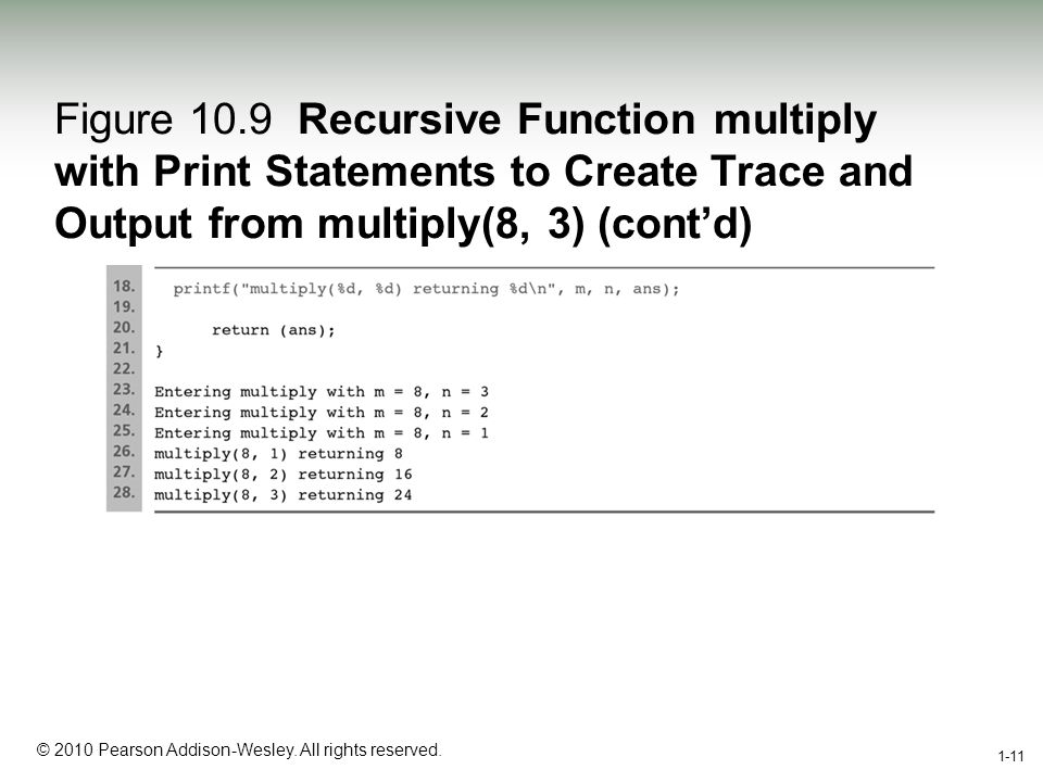 1-11 © 2010 Pearson Addison-Wesley. All rights reserved. 1-11 Figure 10.9 Recursive Function multiply with Print Statements to Create Trace and Output