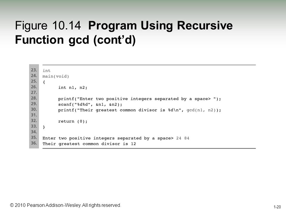 1-20 © 2010 Pearson Addison-Wesley. All rights reserved. 1-20 Figure 10.14 Program Using Recursive Function gcd (contd)