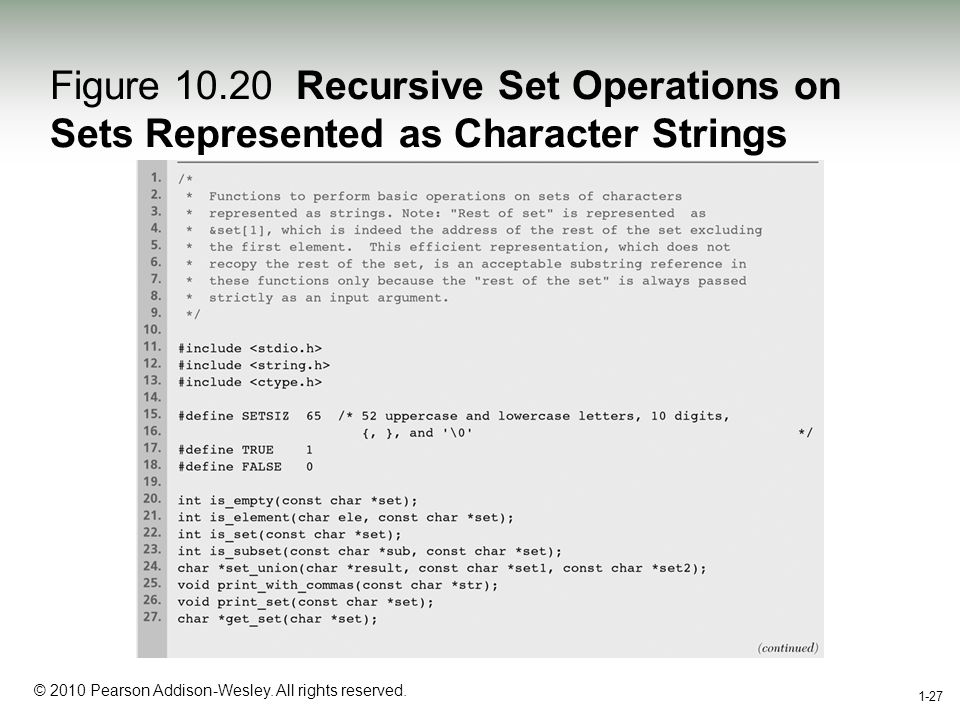 1-27 © 2010 Pearson Addison-Wesley. All rights reserved. 1-27 Figure 10.20 Recursive Set Operations on Sets Represented as Character Strings