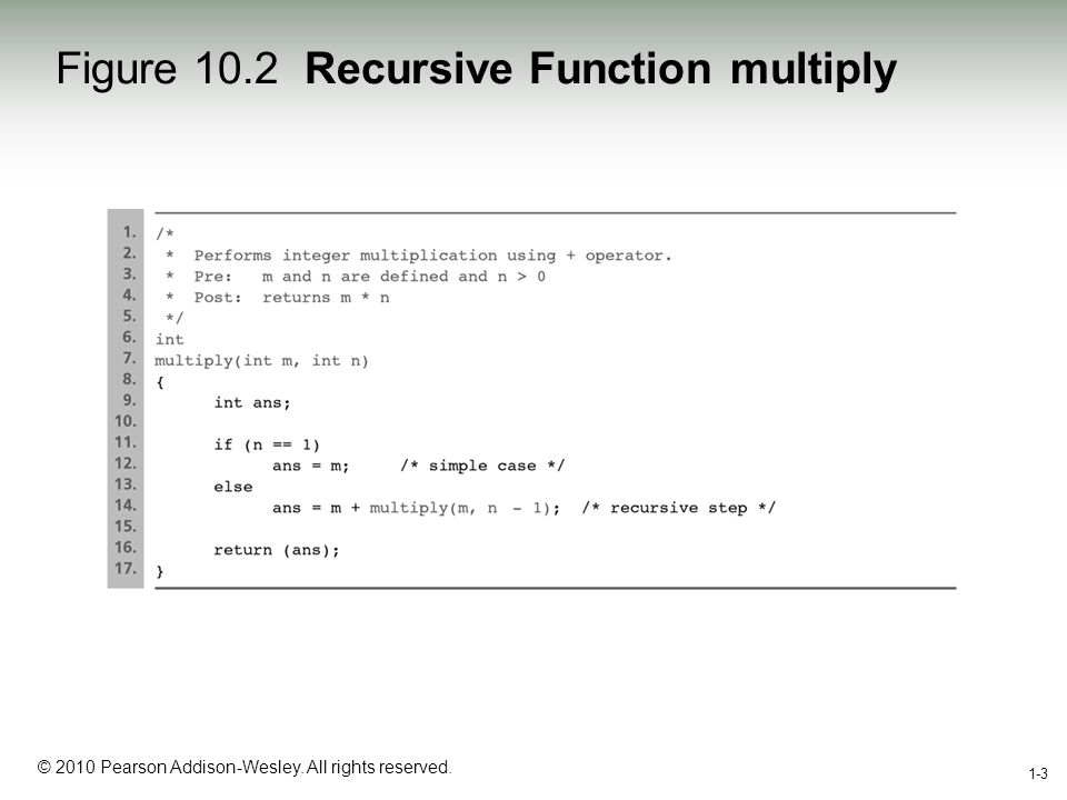 1-3 © 2010 Pearson Addison-Wesley. All rights reserved. 1-3 Figure 10.2 Recursive Function multiply