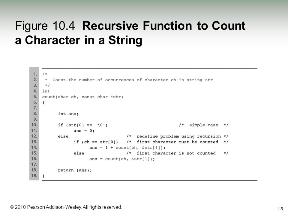 1-5 © 2010 Pearson Addison-Wesley. All rights reserved. 1-5 Figure 10.4 Recursive Function to Count a Character in a String