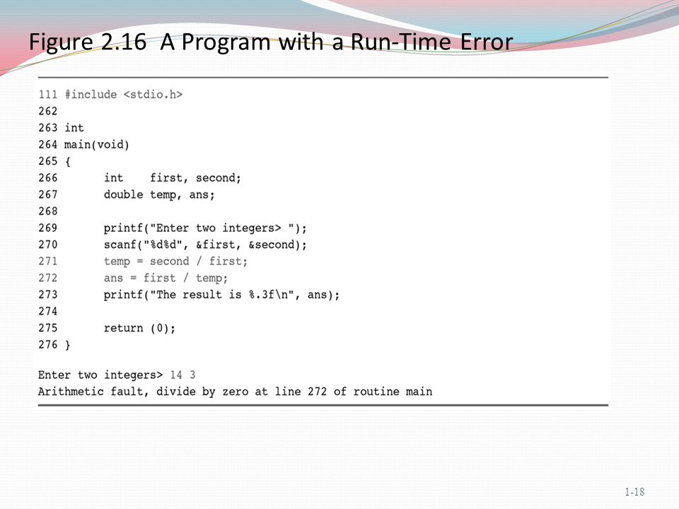 Figure 2.16 A Program with a Run-Time Error 1-18