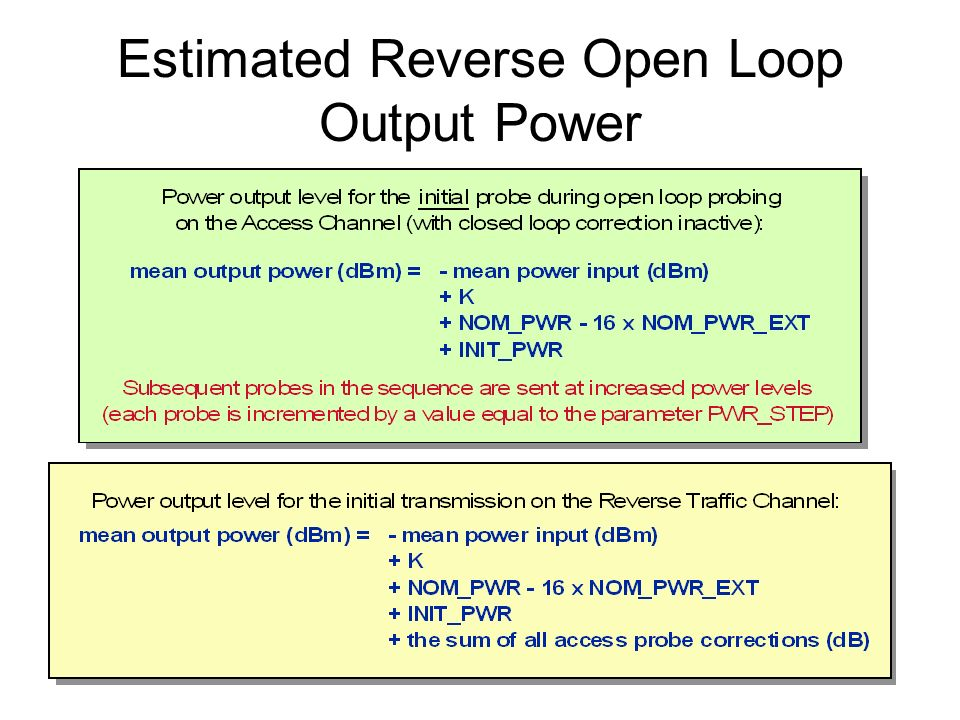 Estimated Reverse Open Loop Output Power