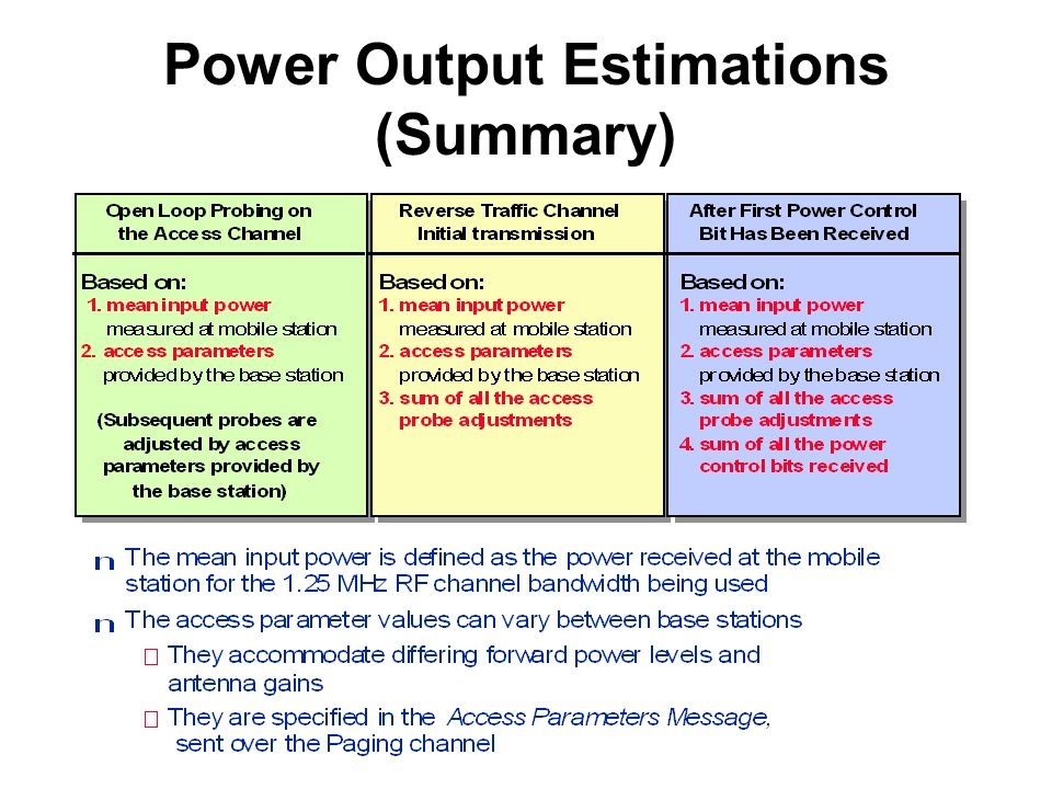 Power Output Estimations (Summary)