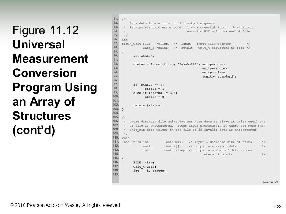 1-22 © 2010 Pearson Addison-Wesley. All rights reserved. 1-22 Figure 11.12 Universal Measurement Conversion Program Using an Array of Structures (cont