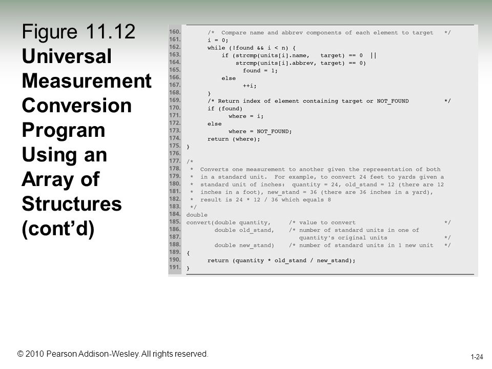 1-24 © 2010 Pearson Addison-Wesley. All rights reserved. 1-24 Figure 11.12 Universal Measurement Conversion Program Using an Array of Structures (cont