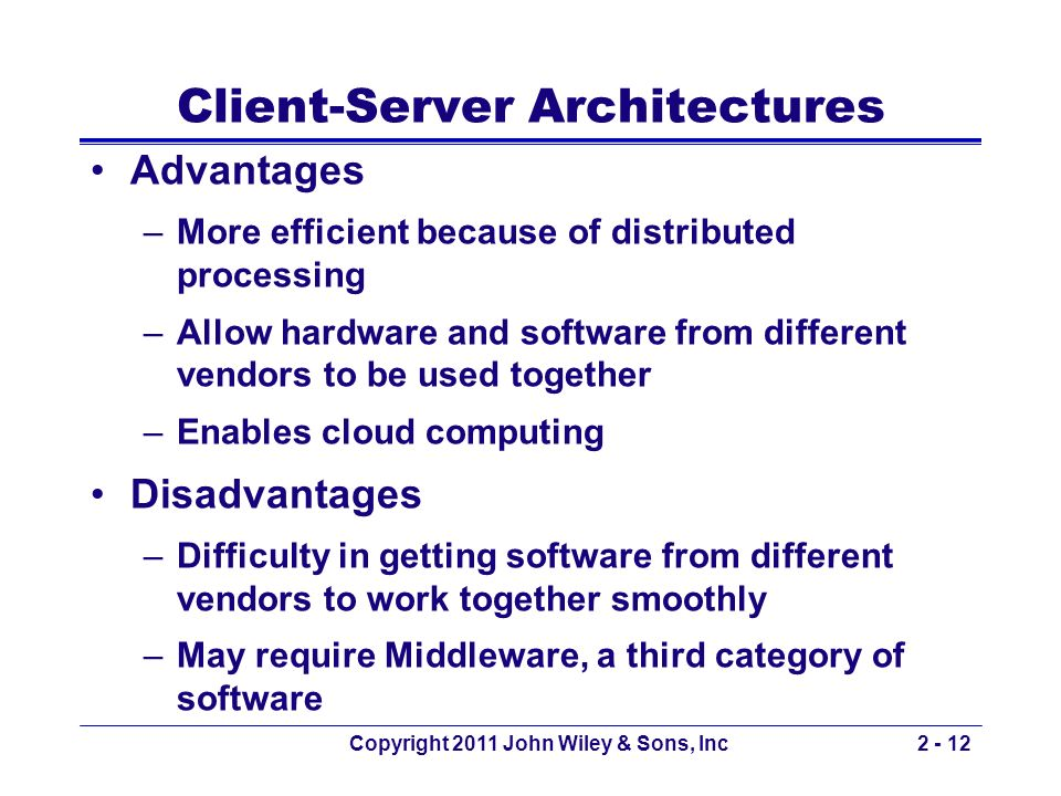 Copyright 2011 John Wiley & Sons, Inc2 - 12 Client-Server Architectures Advantages –More efficient because of distributed processing –Allow hardware a