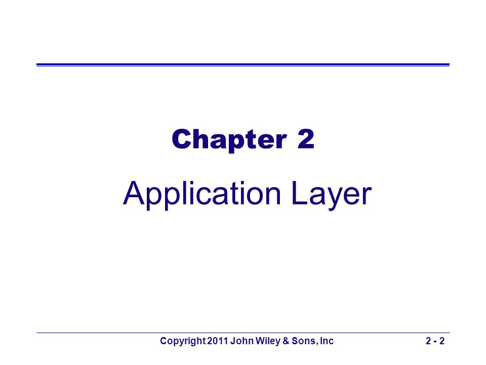 Copyright 2011 John Wiley & Sons, Inc2 - 3 Chapter 2 Outline 2.1 - Introduction 2.2 - Application Architectures –Host-Based, Client-Based, Client-Server and Peer-to-Peer Architectures –Choosing Architectures 2.3 - World Wide Web –How the Web Works –Inside an HTTP Request & HTTP Response 2.4 - Electronic Mail –How E-Mail Works and Inside an SMTP Packet –Attachments in MIME 2.5 - Other Applications –Telnet, Instant Messaging, and Videoconferencing 2.6 – Implications for Management