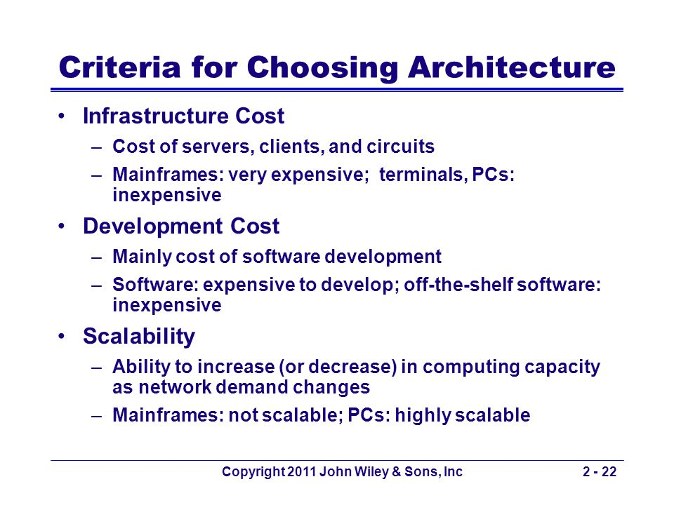 Copyright 2011 John Wiley & Sons, Inc2 - 22 Criteria for Choosing Architecture Infrastructure Cost –Cost of servers, clients, and circuits –Mainframes