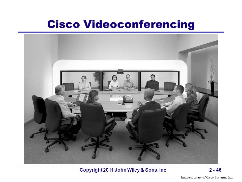 Cisco Videoconferencing Copyright 2011 John Wiley & Sons, Inc2 - 46 Image courtesy of Cisco Systems, Inc.