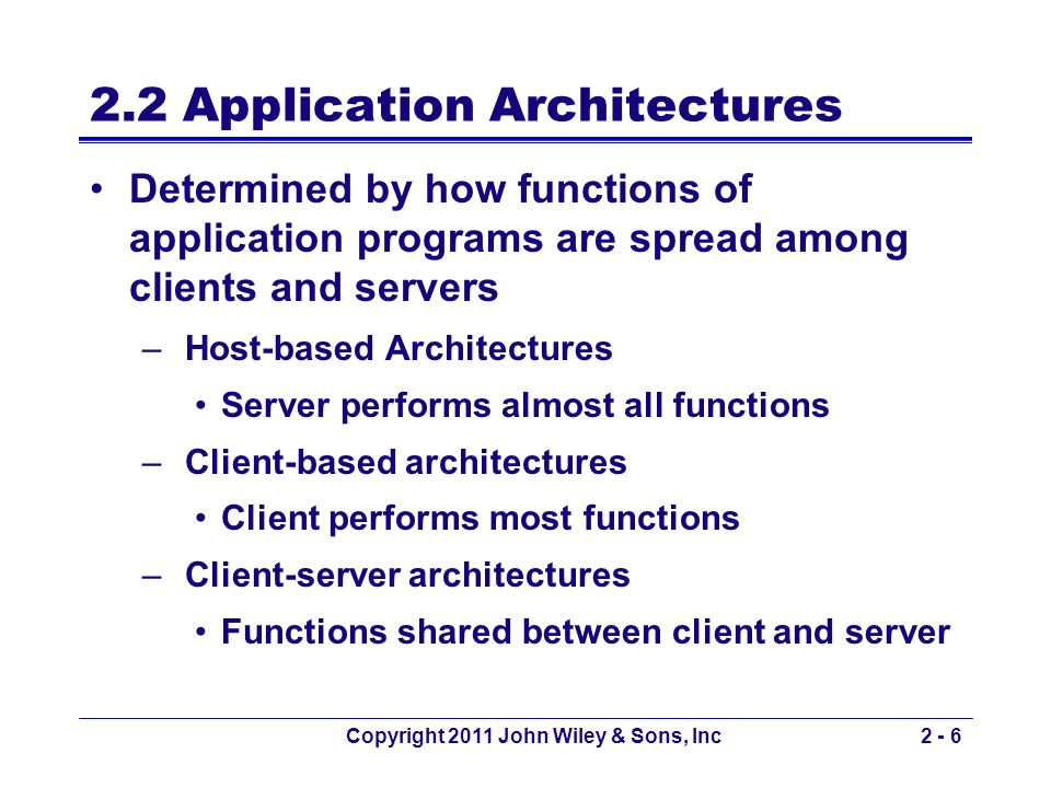 Copyright 2011 John Wiley & Sons, Inc2 - 37 Host Based e-mail Architectures An old method used on UNIX based hosts Similar to client-server architecture, except –Client PC replaced by a terminal (or terminal emulator) Sends all keystrokes to the server Display characters received from the server –All software resides on the server Takes client keystrokes and understand users commands Creates SMTP packets and sends them to next mail server Useful when traveling in locations with poor internet facilities