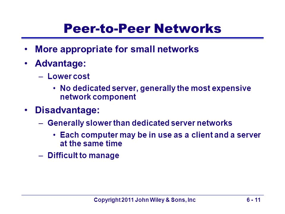 Copyright 2011 John Wiley & Sons, Inc6 - 11 Peer-to-Peer Networks More appropriate for small networks Advantage: –Lower cost No dedicated server, gene