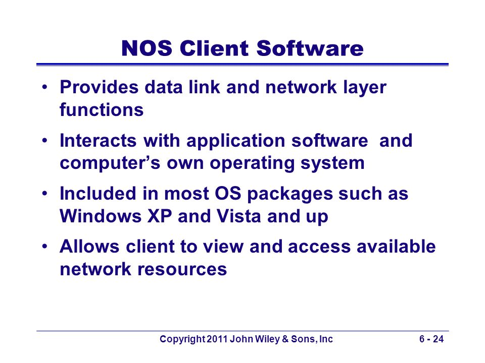 Copyright 2011 John Wiley & Sons, Inc6 - 24 NOS Client Software Provides data link and network layer functions Interacts with application software and
