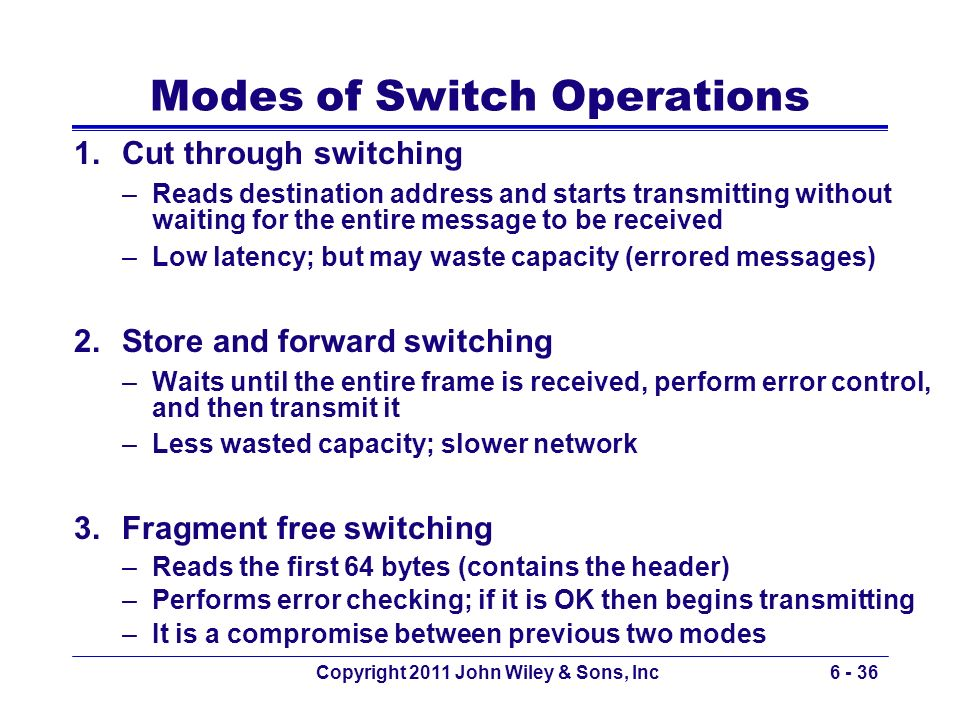 Copyright 2011 John Wiley & Sons, Inc6 - 36 Modes of Switch Operations 1.Cut through switching –Reads destination address and starts transmitting with