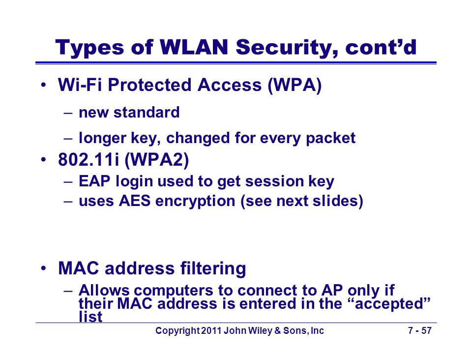 Copyright 2011 John Wiley & Sons, Inc7 - 57 Types of WLAN Security, contd Wi-Fi Protected Access (WPA) –new standard –longer key, changed for every pa