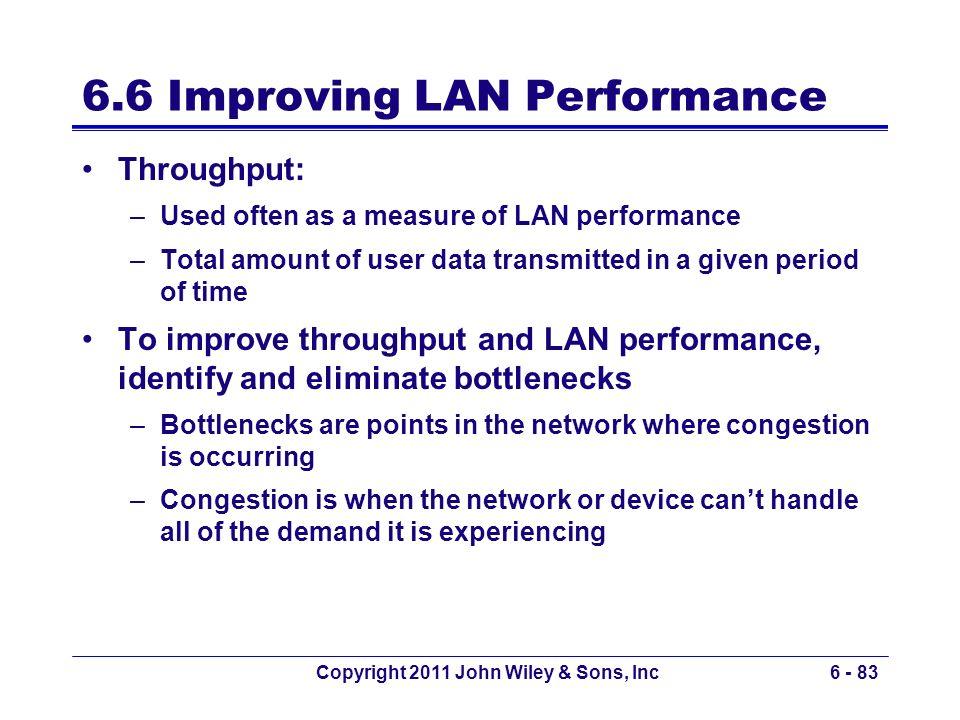 Copyright 2011 John Wiley & Sons, Inc6 - 83 6.6 Improving LAN Performance Throughput: –Used often as a measure of LAN performance –Total amount of use