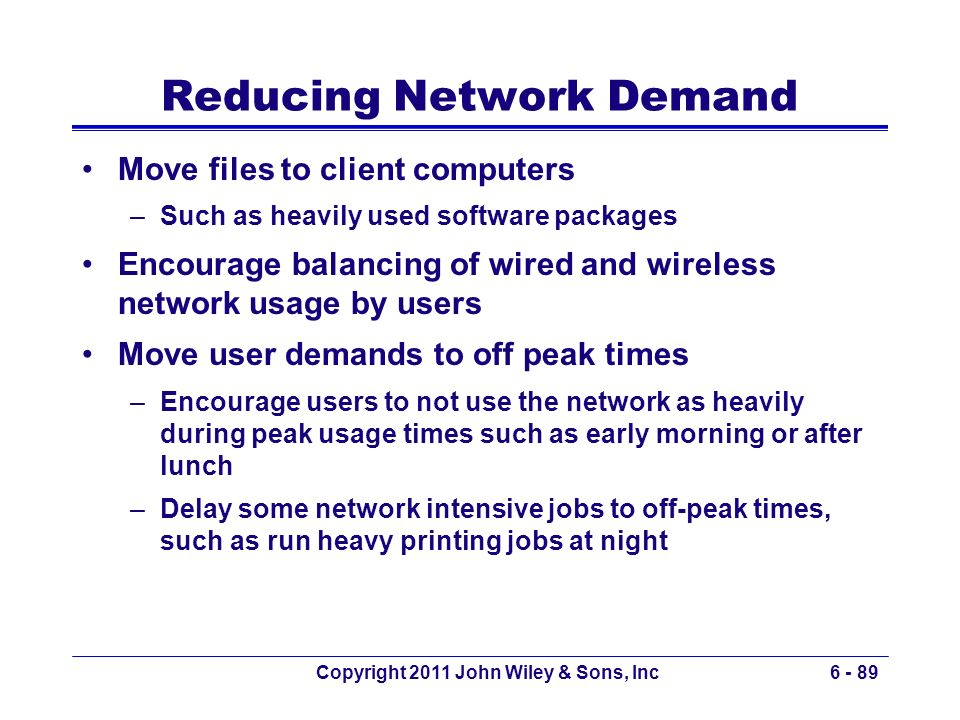 Copyright 2011 John Wiley & Sons, Inc6 - 89 Reducing Network Demand Move files to client computers –Such as heavily used software packages Encourage b
