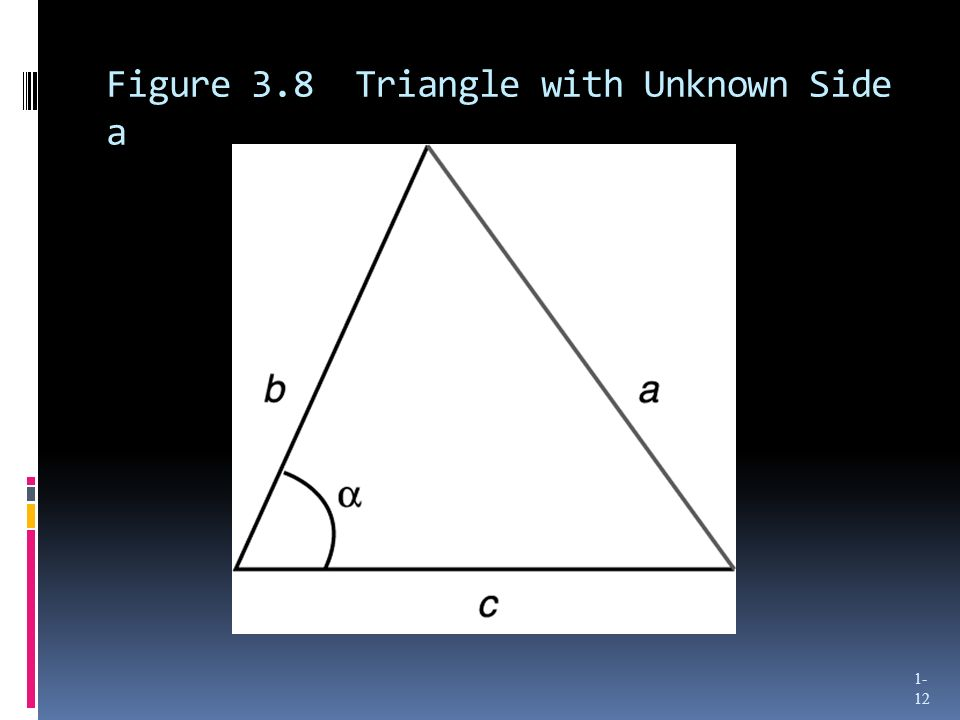 Figure 3.8 Triangle with Unknown Side a 1- 12