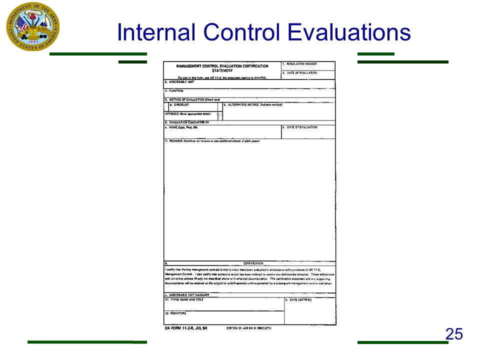 Internal Control Evaluations 25
