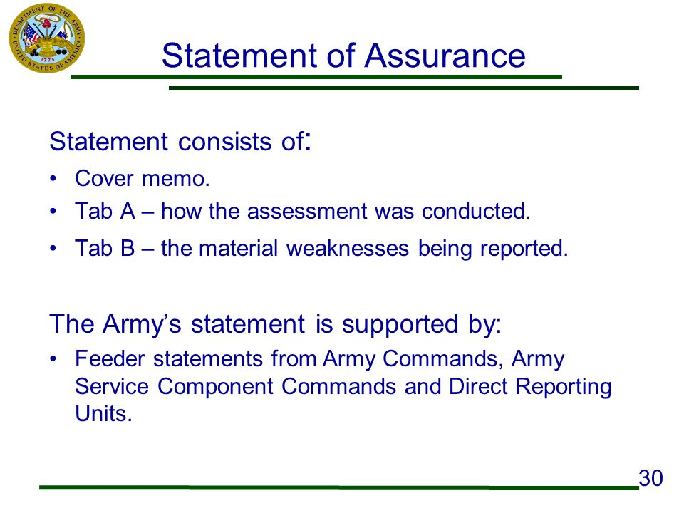 Statement of Assurance Statement consists of : Cover memo. Tab A – how the assessment was conducted. Tab B – the material weaknesses being reported. T