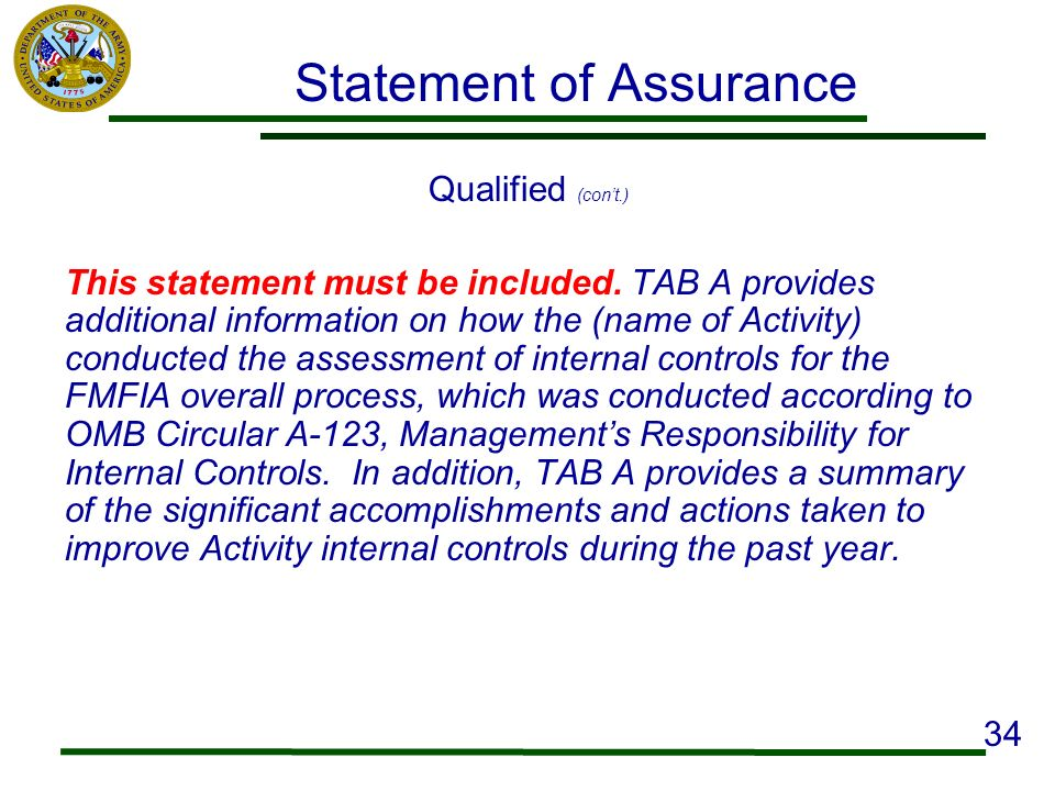 Statement of Assurance Qualified (cont.) This statement must be included. TAB A provides additional information on how the (name of Activity) conducte