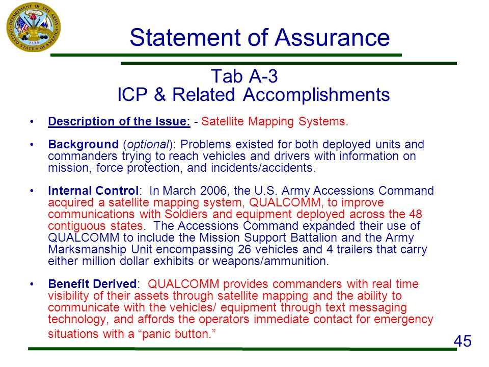Statement of Assurance Tab A-3 ICP & Related Accomplishments Description of the Issue: - Satellite Mapping Systems. Background (optional): Problems ex