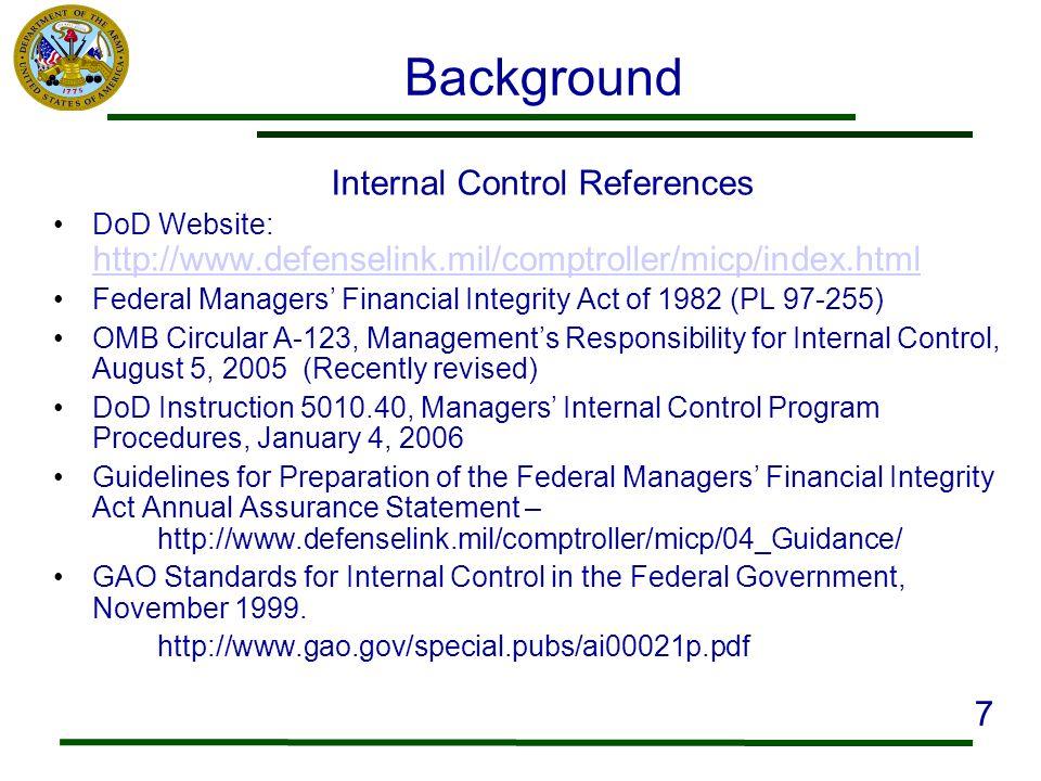 Background Internal Control References DoD Website: http://www.defenselink.mil/comptroller/micp/index.html http://www.defenselink.mil/comptroller/micp