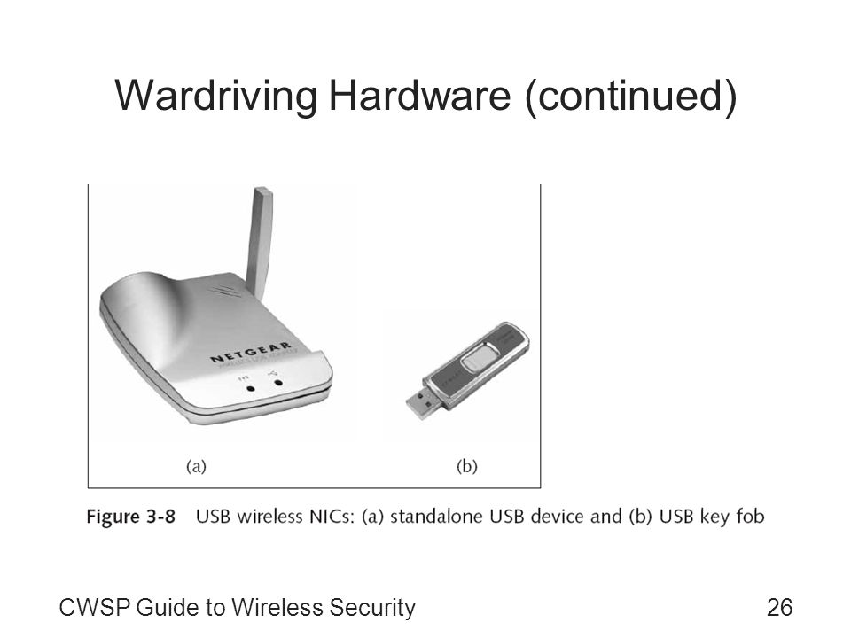 26CWSP Guide to Wireless Security Wardriving Hardware (continued)
