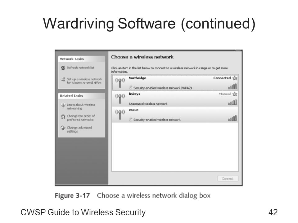 42CWSP Guide to Wireless Security Wardriving Software (continued)