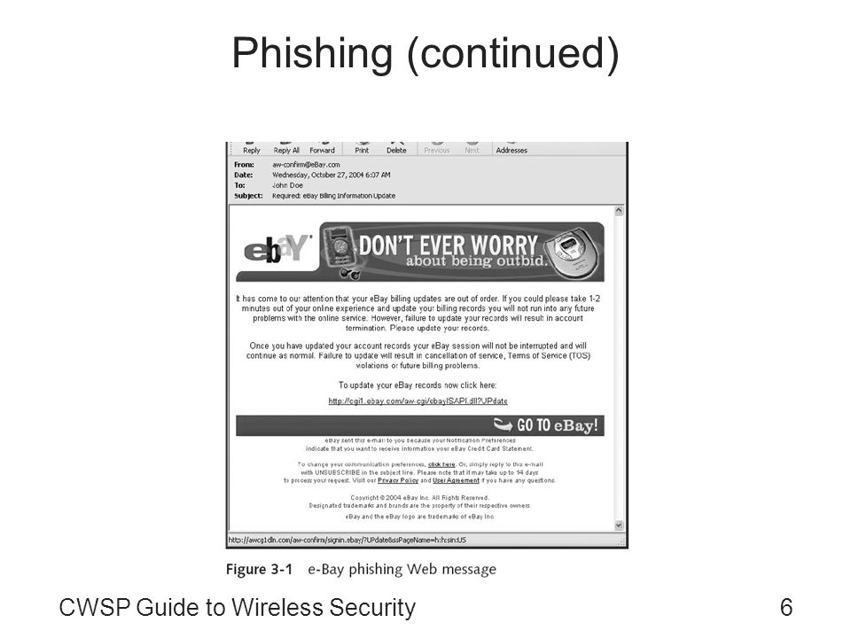 6CWSP Guide to Wireless Security Phishing (continued)