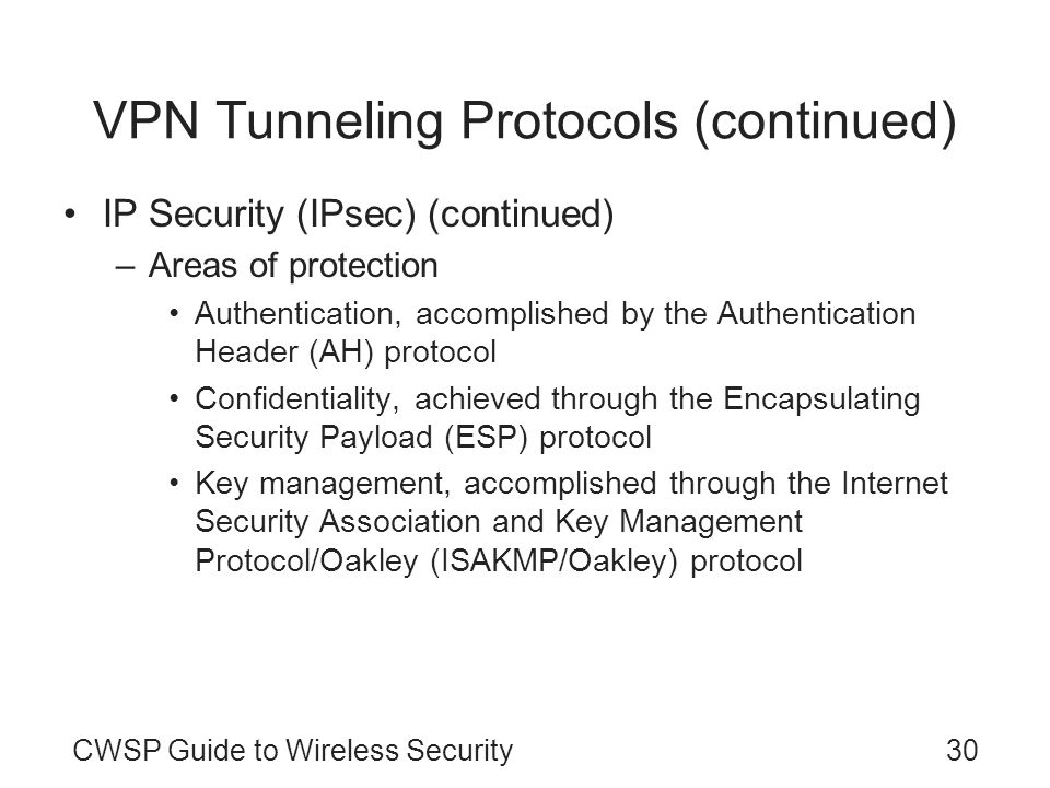 CWSP Guide to Wireless Security30 VPN Tunneling Protocols (continued) IP Security (IPsec) (continued) –Areas of protection Authentication, accomplishe