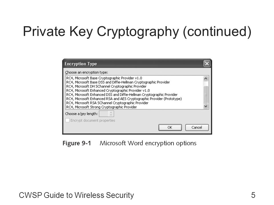 CWSP Guide to Wireless Security5 Private Key Cryptography (continued)