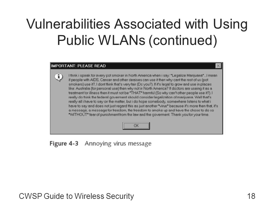 18CWSP Guide to Wireless Security Vulnerabilities Associated with Using Public WLANs (continued)