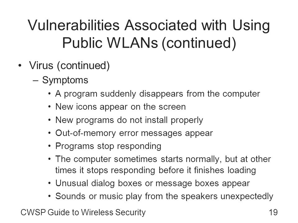 19CWSP Guide to Wireless Security Vulnerabilities Associated with Using Public WLANs (continued) Virus (continued) –Symptoms A program suddenly disapp